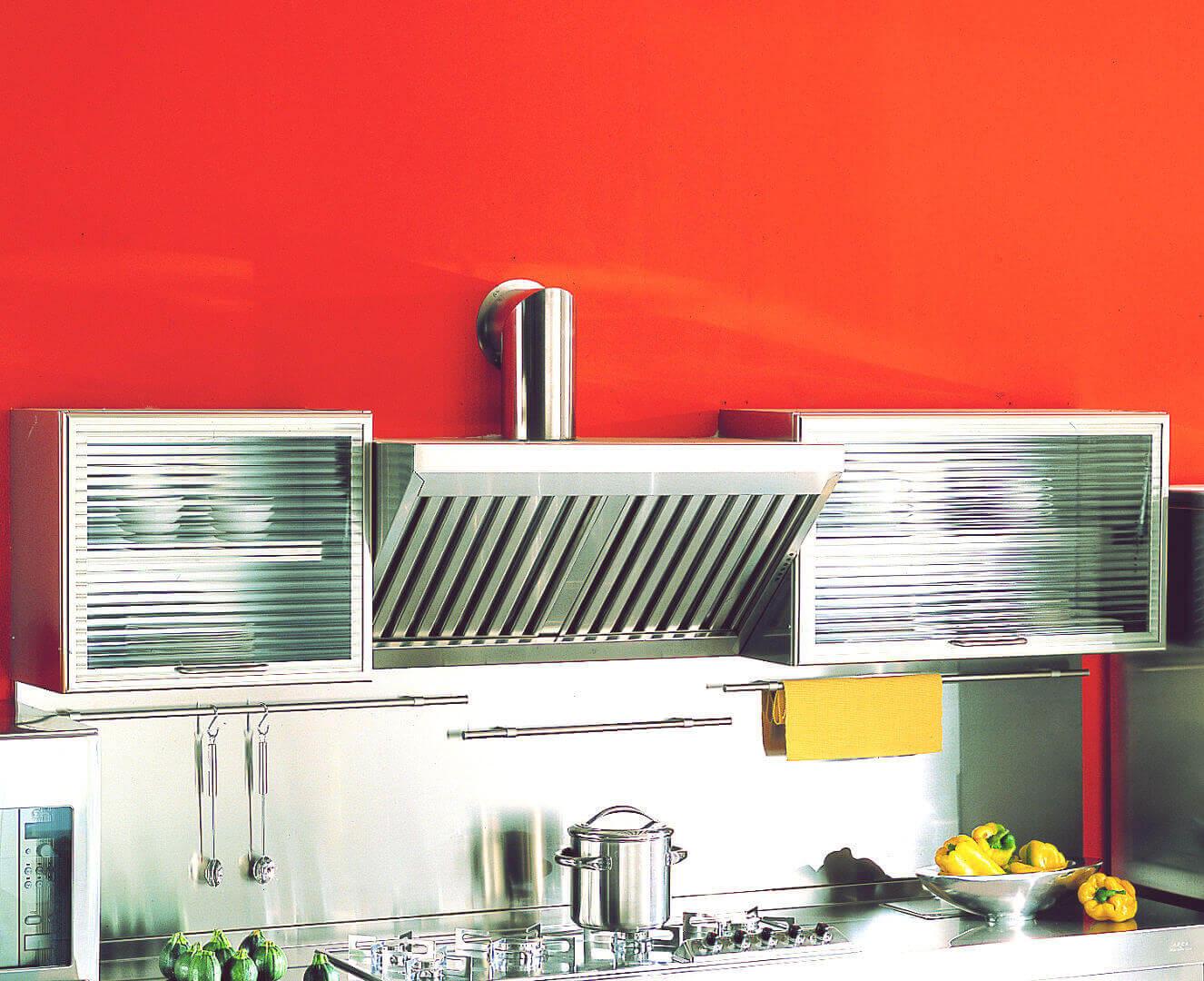 Arca Cucine Italia - Cucina Domestica in Acciaio Inox - Spring - Pensili E Cappa