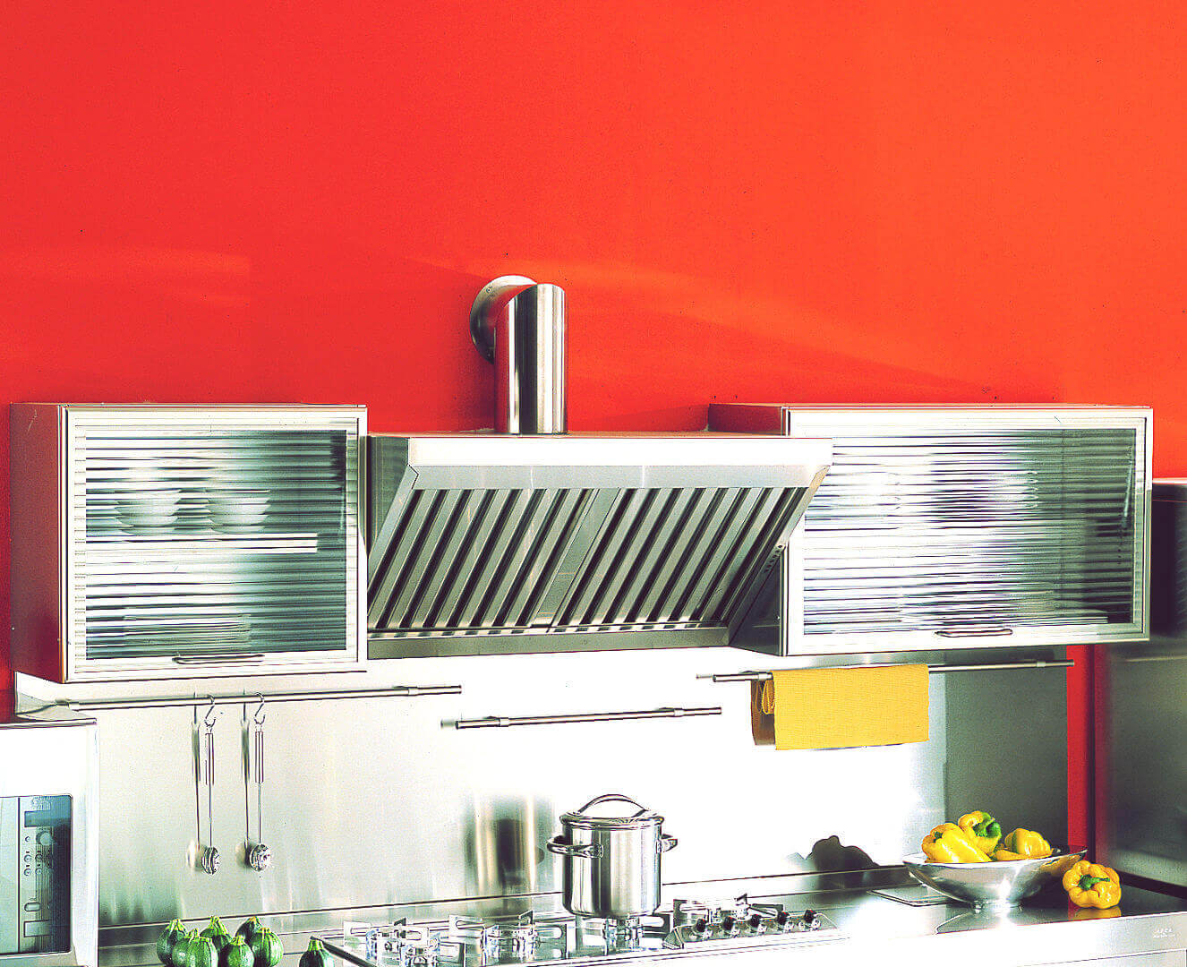 Arca Cucine Italy - Home Kitchen Stainless Steel - Spring - Wall cabinets and hood