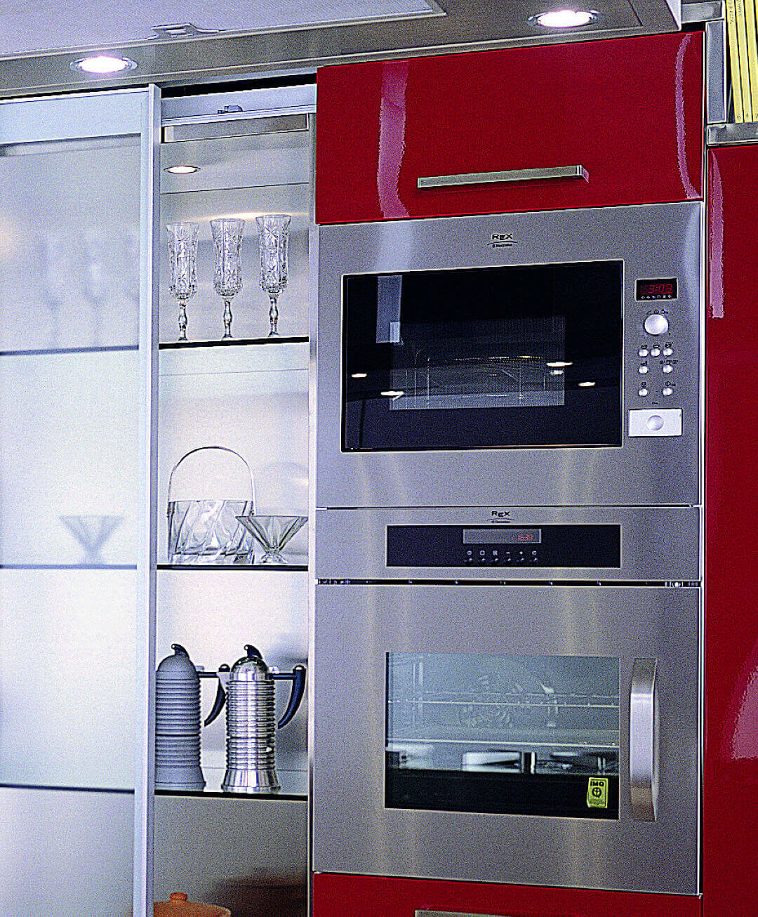 Arca Cucine Italy - Kitchen maid in Stainless Steel and Glass - Opera - Ovens column
