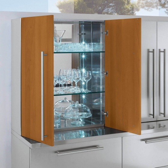 Arca Cucine Italy - Domestic stainless steel kitchens - Accessories - Steel Cabinet With Wooden Doors And Glass Shelves Lit