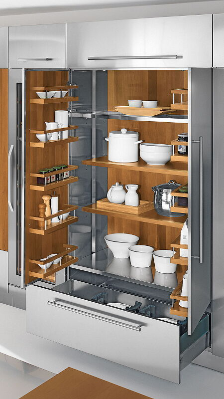 Ark Kitchens Italian Kitchens Milf Stainless Steel Accessories Wardrobe Steel With Wooden Shelves 1