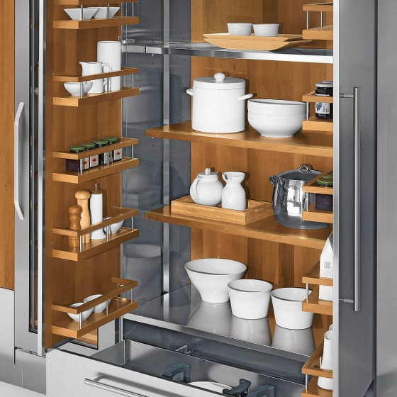 Arca Cucine Italy - Domestic stainless steel kitchens - Accessories - Steel Cabinet With Wooden Shelves