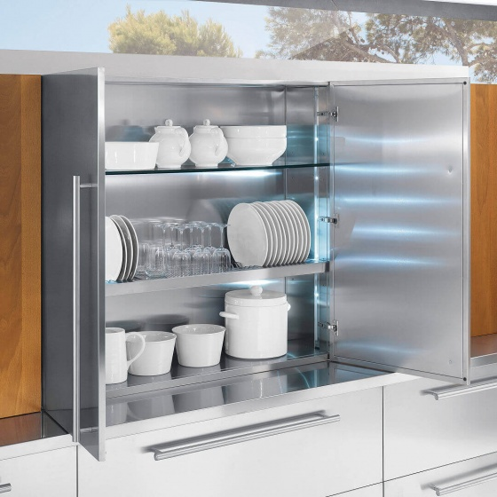 Arca Cucine Italy - Domestic stainless steel kitchens - Accessories - Steel Cabinet With Illuminated Glass Shelves