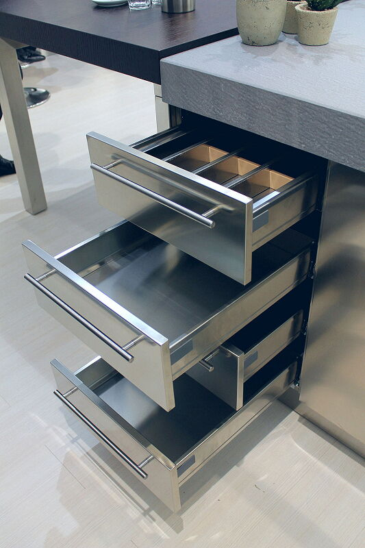 Ark Kitchens Italian Kitchens Milf Stainless Steel Accessories Stainless Drawer 3 061