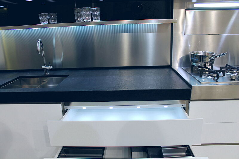 Ark Kitchens Italian Kitchens Milf Stainless Steel Accessories Tray With LED Lighting 056 1