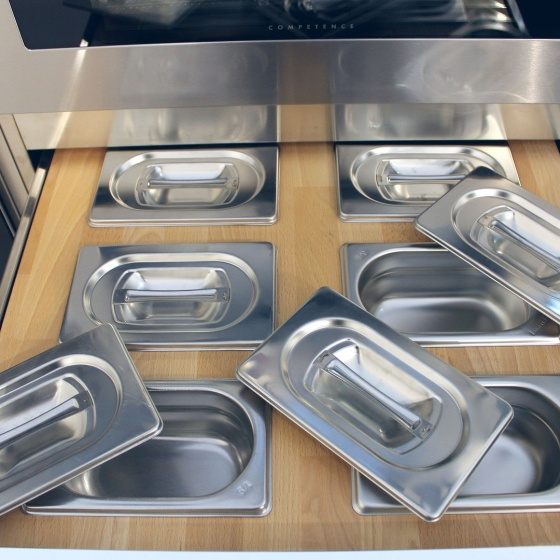 Arca Cucine Italy - Domestic stainless steel kitchens - Accessories - Solid Beech Drawer With Cut Condiments 2 054