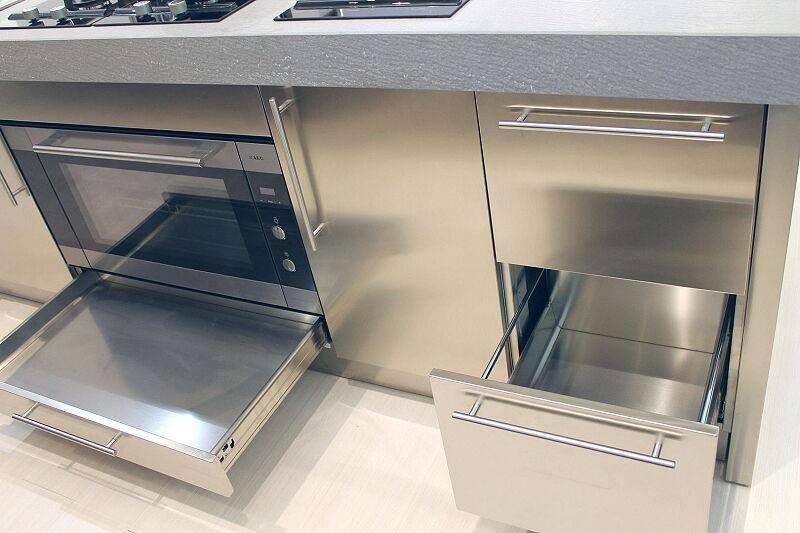 Arca Cucine Italia Cucine Domestiche Acciaio Inox Accessori Cestone Ad Estrazione Totale Cassetto Sotto Forno 050 1