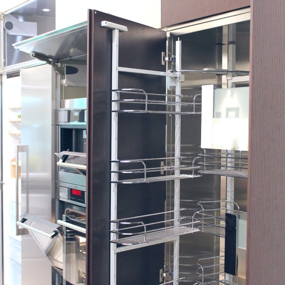 Arca Cucine Italy - Domestic stainless steel kitchens - Accessories - Column With Trolley With Extractable Frame And Hinged Frame 3 040