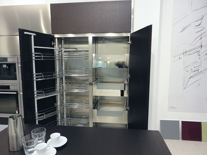 Ark Kitchens Italian Kitchens Milf Stainless Steel Accessories Column With Shopping Cart With Frame And Removable Hinged Frame It Interior Drawers 2 014