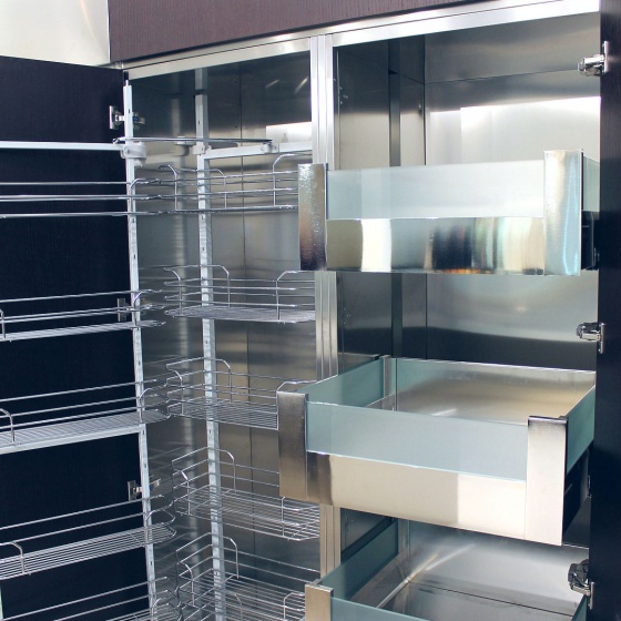 Arca Cucine Italy - Domestic stainless steel kitchens - Accessories - Column With Trolley With Extractable Frame And Hinged Frame And Internal Drawers 3 039
