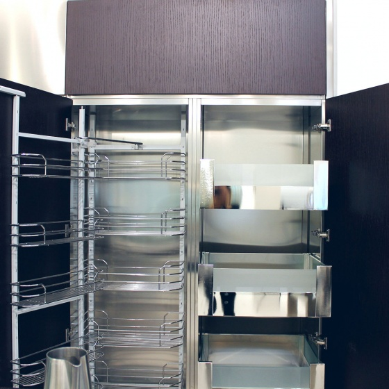 Arca Cucine Italy - Domestic stainless steel kitchens - Accessories - Column With Trolley With Extractable Frame And Hinged Frame And Internal Drawers 4 038