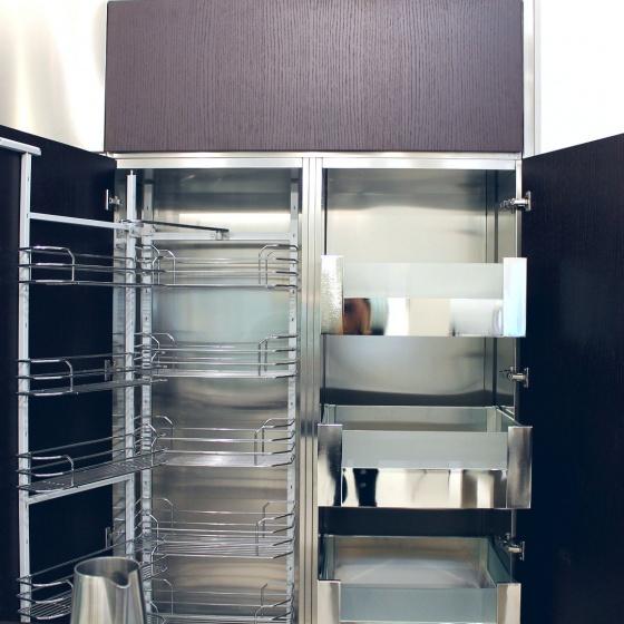 Arca Cucine Italia - Cucine Domestiche Acciaio Inox - Accessori - Colonna Con Carrello Con Telaio Estraibile E Telaio Incernierato E Cassetti Interni 4 038