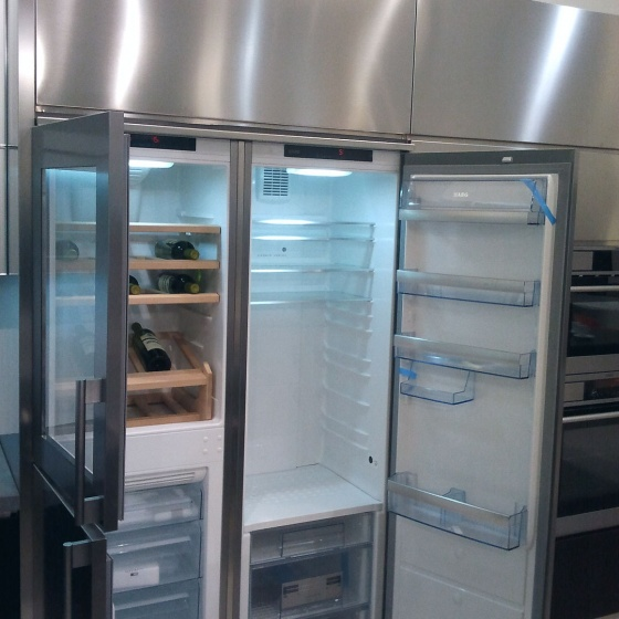 Arca Cucine Italy - Domestic stainless steel kitchens - Accessories - Side-By-Side Combination - Fridge Freezer Wine Cellar 016