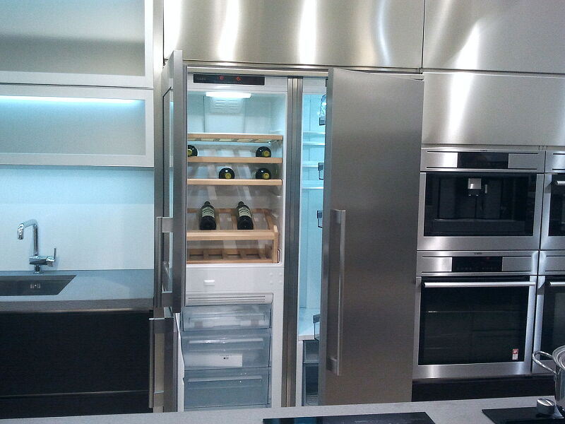 Ark Kitchens Italian Kitchens Milf Stainless Steel Accessories Combination Side By Side Fridge Freezer Wine cellar 2 017_1