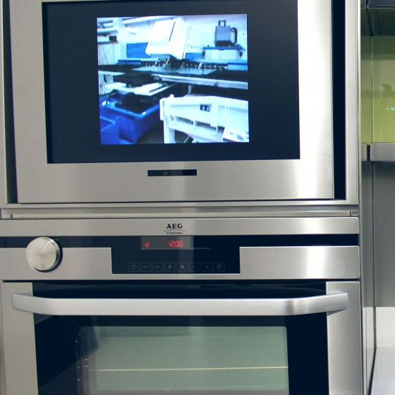 Arca Cucine Italy - Domestic stainless steel kitchens - Accessories - Column Oven Composition + Tv 035