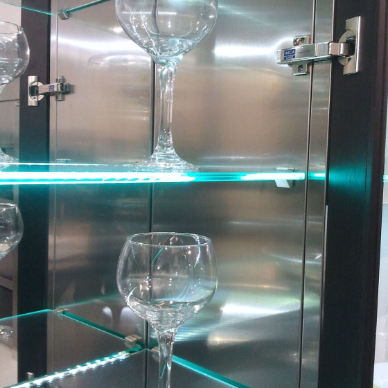 Arca Cucine Italy - Domestic stainless steel kitchens - Accessories - Led Lighting And Glass Shelves 013