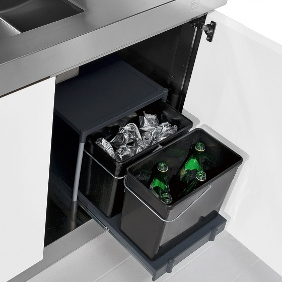 Arca Cucine Italy - Domestic stainless steel kitchens - Accessories - Pull-Out Bin For Recycling