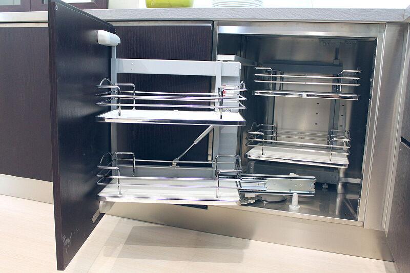 Arca Cucine Italia Cucine Domestiche Acciaio Inox Accessori Ripiani Girevoli Estraibili Per Mobili Ad Angolo 4 013