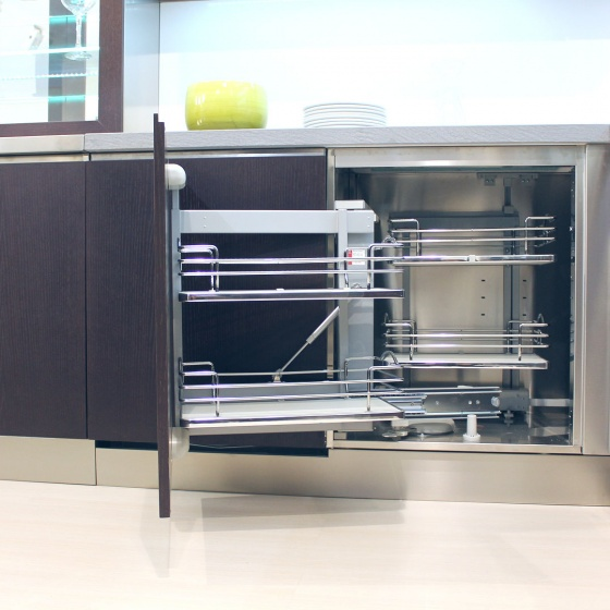 Arca Cucine Italy - Domestic stainless steel kitchens - Accessories - Revolving Shelves Pull-Outs To Angled Furniture 5 012