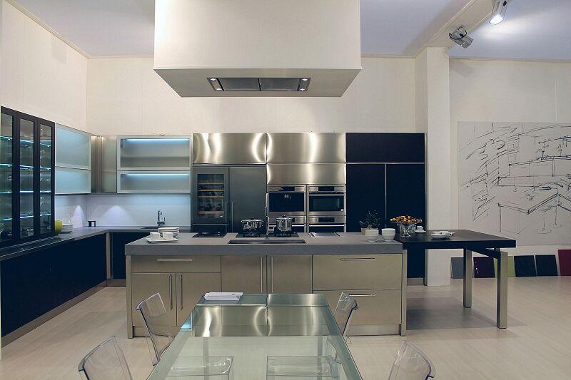 Arca Cucine Italia Cucine Domestiche Acciaio Inox Barn Nera 1623 190