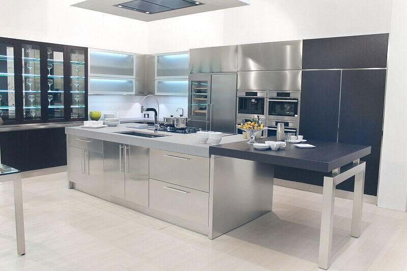 Ark Kitchens Italian Kitchens Milf Stainless Steel Black Barn 1634 179
