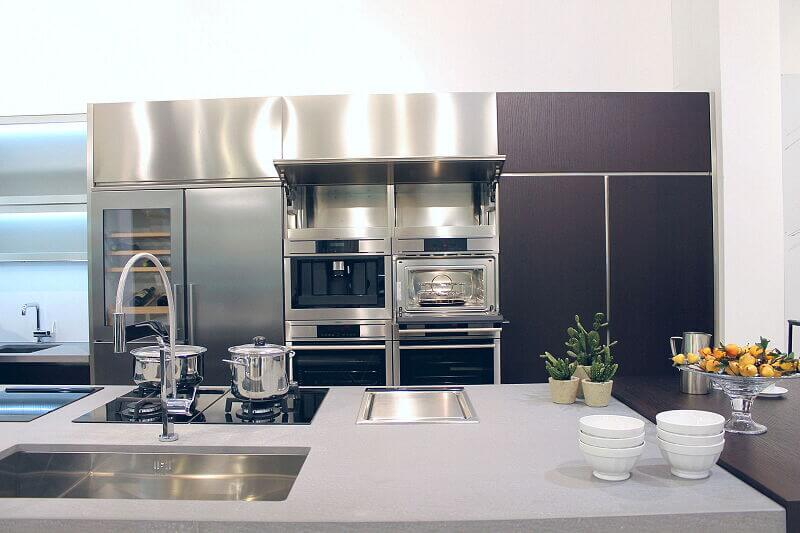 Ark Kitchens Italian Kitchens Milf Stainless Steel Black Barn 1740 111