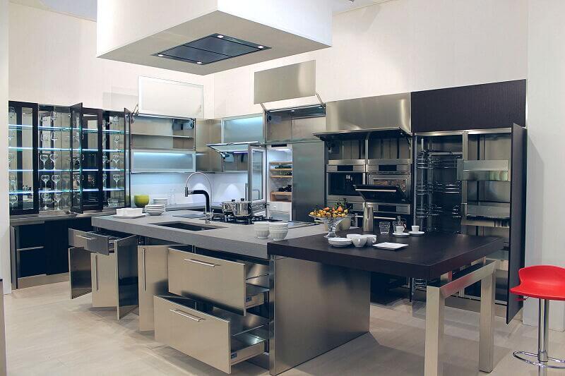 Ark Kitchens Italian Kitchens Milf Stainless Steel Black Barn 1879 013
