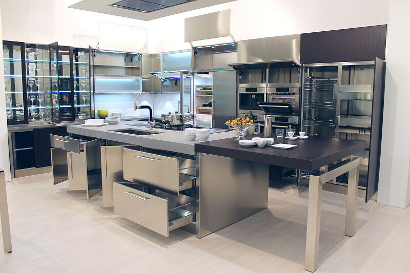 Ark Kitchens Italian Kitchens Milf Stainless Steel Black Barn 1881 011