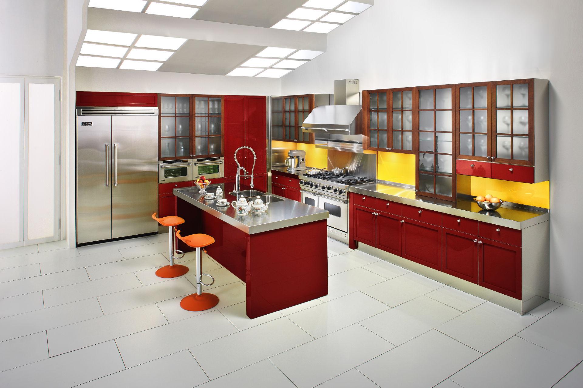Arca Cucine Italia - Cucine Domestiche in Acciaio Inox - 14 - Cambridge - Rossa