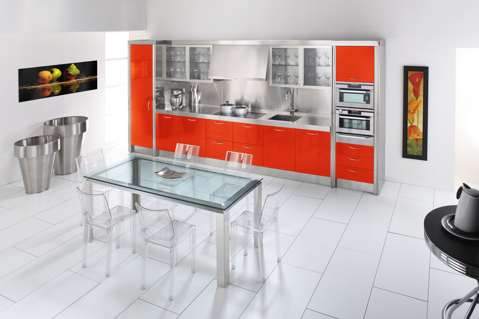 Arca Cucine Italy - Domestic stainless steel kitchens - 15 - Essex - Rosso