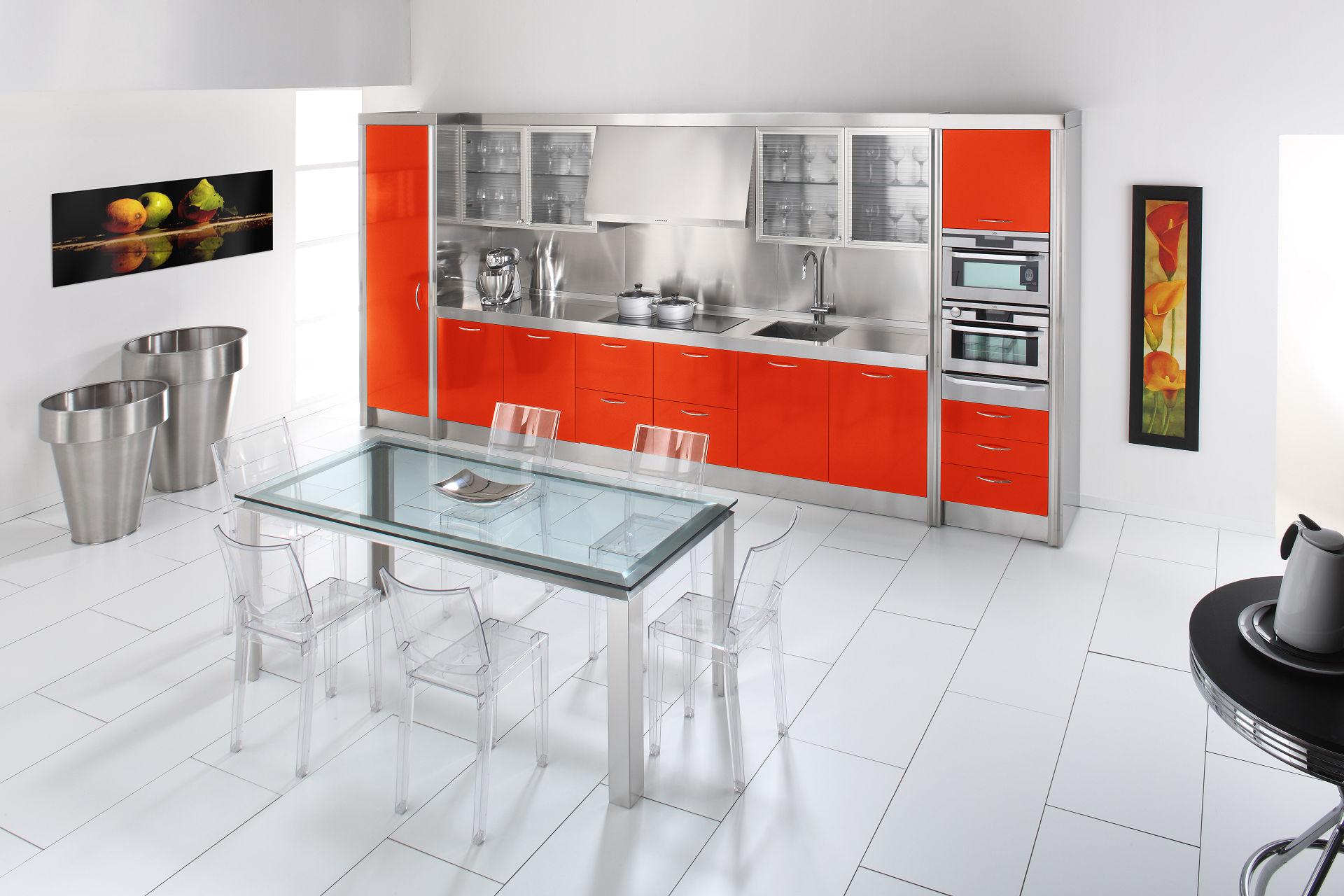 Arca Cucine Italia - Cucine Domestiche in Acciaio Inox - 15 - Essex - Rosso