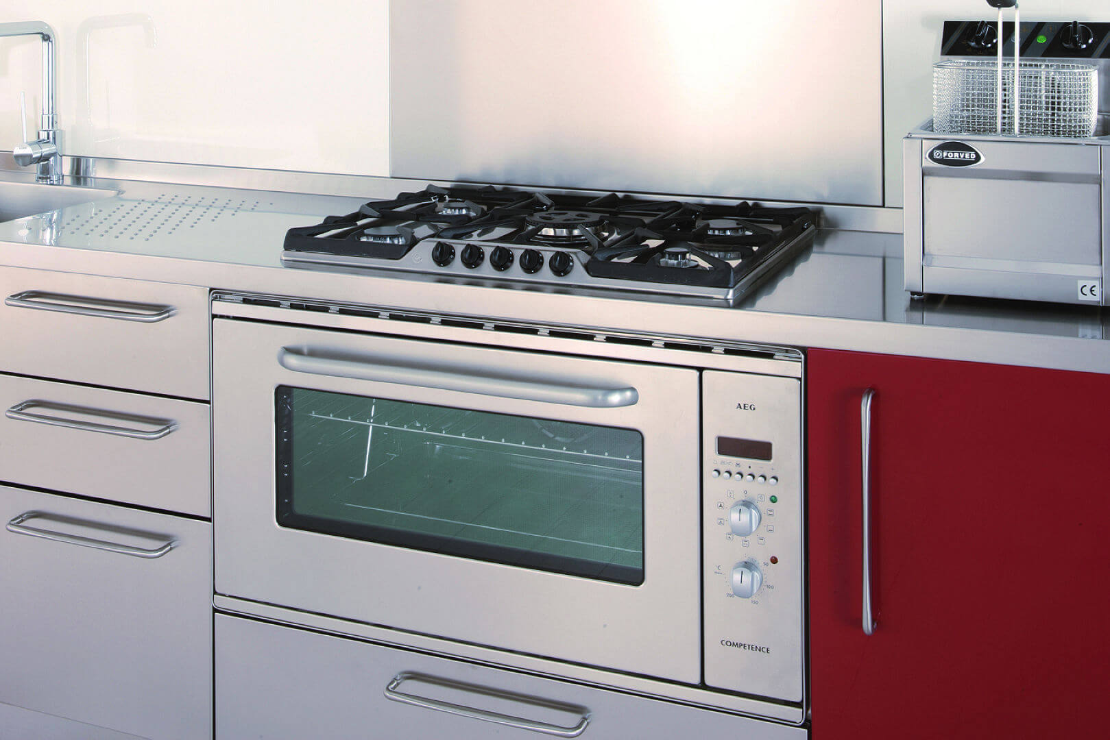 Arca Cucine Italy - Domestic stainless steel kitchens - 13 - Gourmet - block Cooking