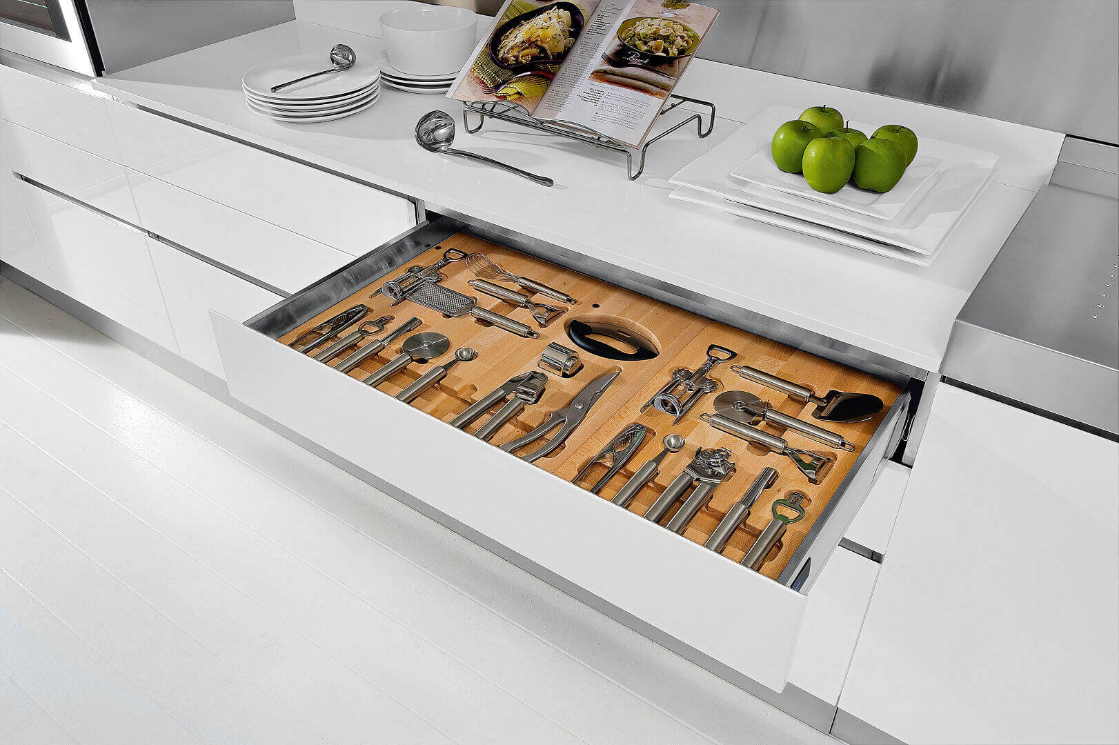 Arca Cucine Italy - Cutlery drawer port with Interior Wood and guides with closure Slowed