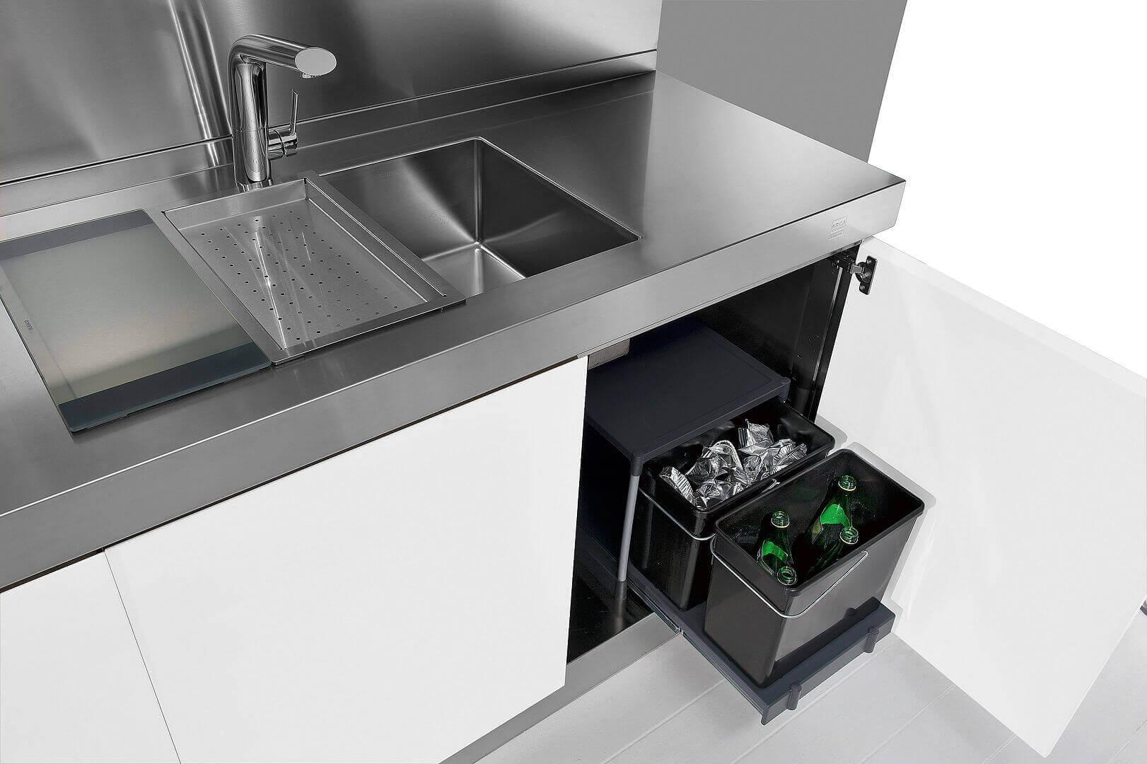 Arca Cucine Italy - Domestic stainless steel kitchens - Hd - Ark dustbin Trend