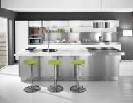 Arca Cucine Italia - Cucina Domestica in Acciaio Inox - Modello Trend - Isola Centrale Vista Frontale