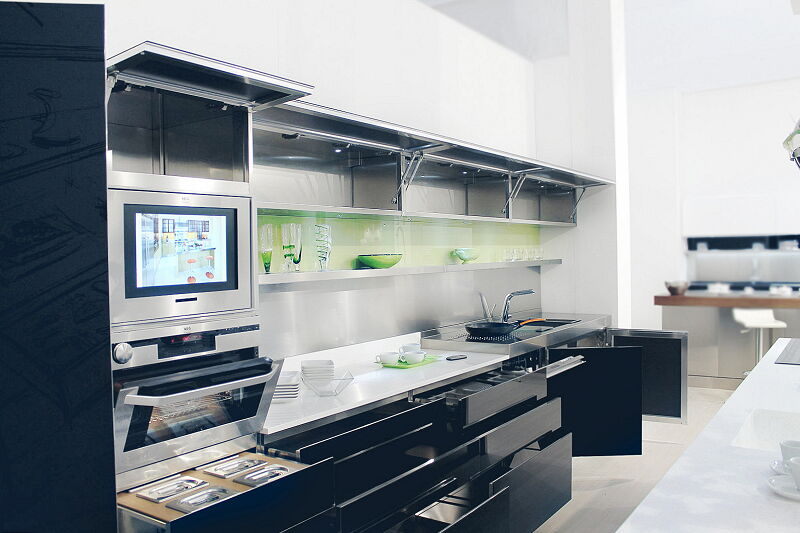 Ark Kitchens Italian Kitchens Milf Stainless Steel Prism Open