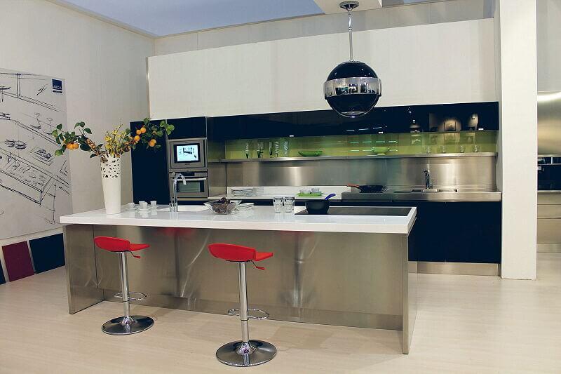 Arca Cucine Italia Cucine Domestiche Acciaio Inox Trend Nera 1656 161