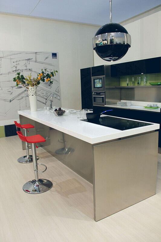 Arca Cucine Italia Cucine Domestiche Acciaio Inox Trend Nera 1657 160