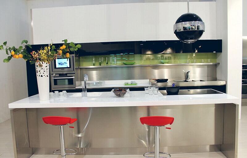 Arca Cucine Italia Cucine Domestiche Acciaio Inox Trend Nera 1672 149