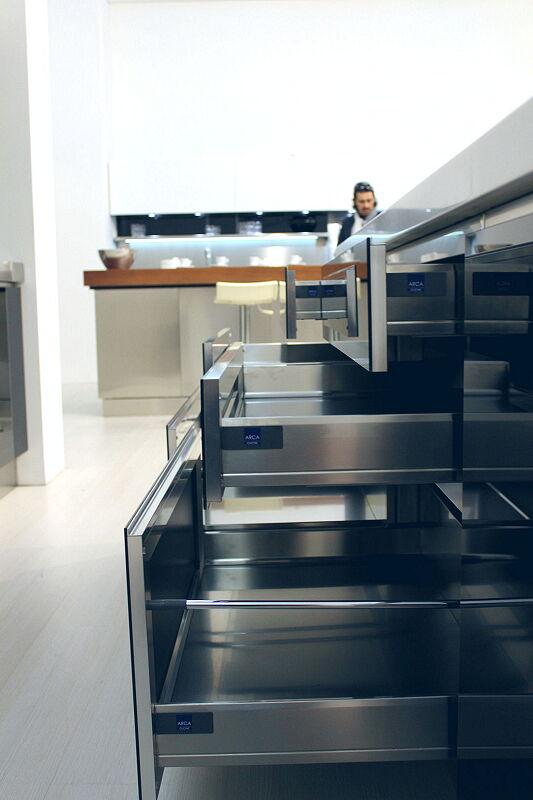 Arca Cucine Italia Cucine Domestiche Acciaio Inox Trend Nera 1851 036