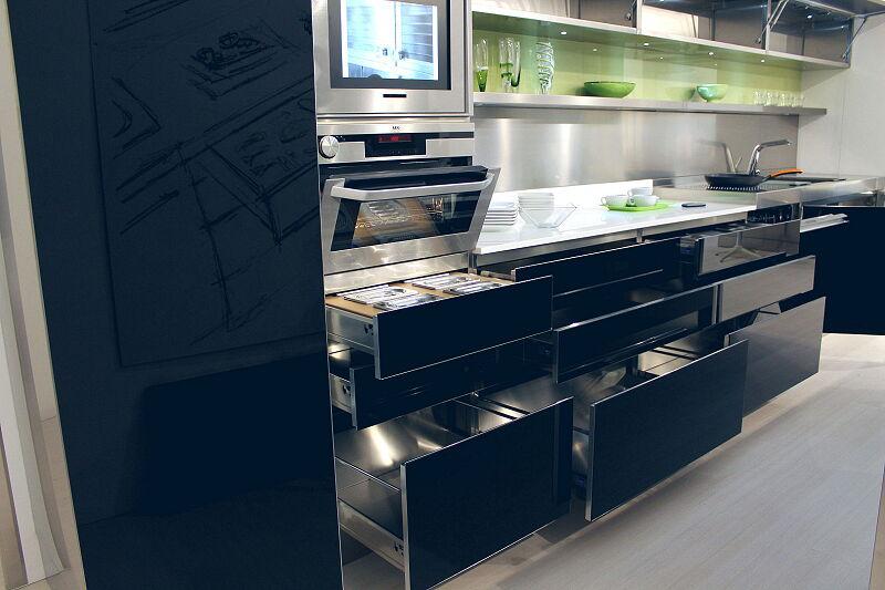 Arca Cucine Italia Cucine Domestiche Acciaio Inox Trend Nera 1867 024