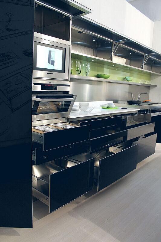 Arca Cucine Italia Cucine Domestiche Acciaio Inox Trend Nera 1868 023