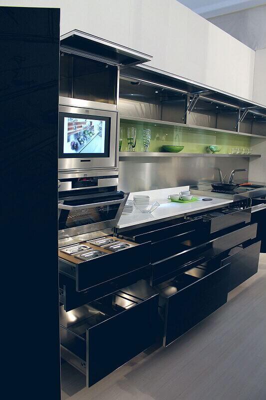 Arca Cucine Italia Cucine Domestiche Acciaio Inox Trend Nera 1869 022