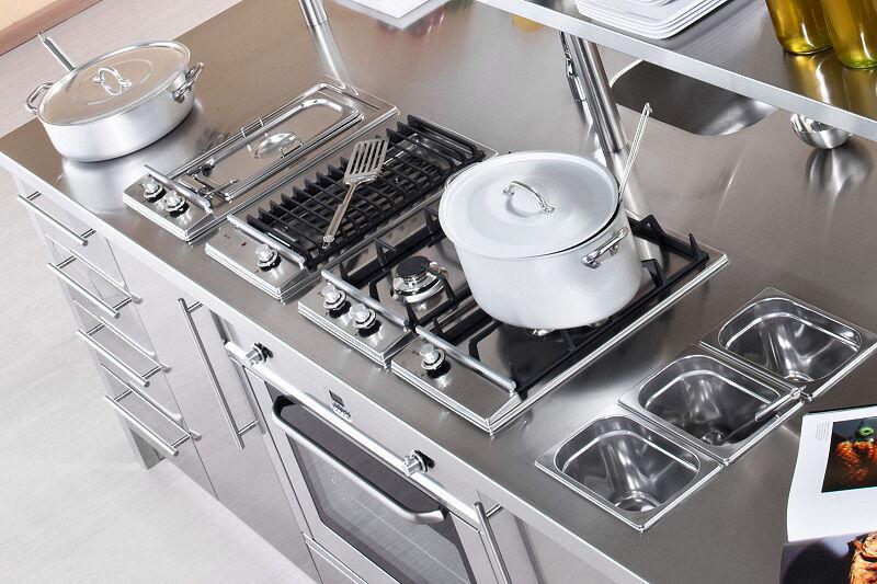 Arca Cucine Italia Cucine Domestiche Acciaio Inox Workstation Inox_081w Cottura 1 1