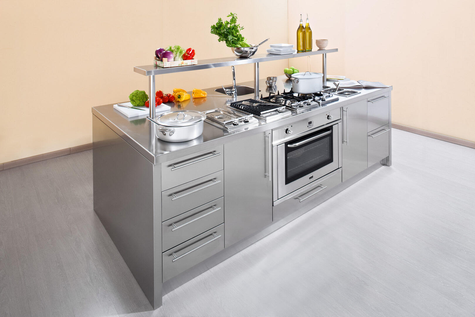 Arca Cucine Italy - Domestic stainless steel kitchens - Workstation - Oven and Fronts