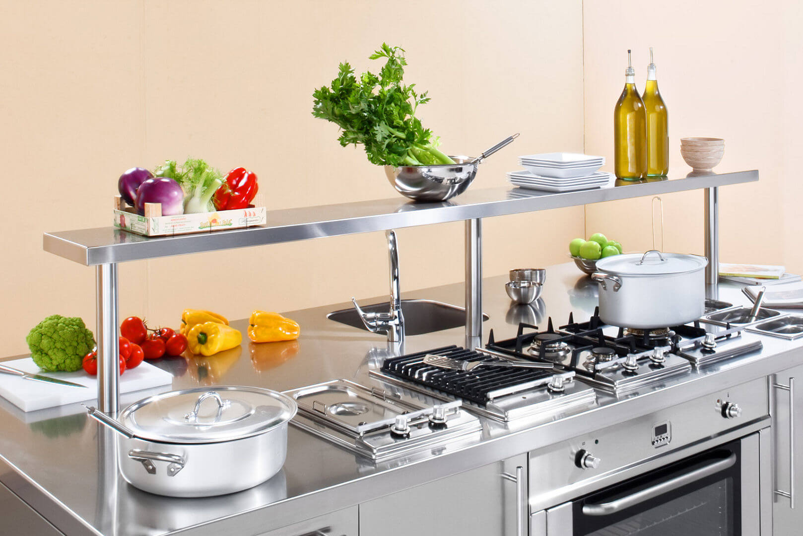 Arca Cucine Italy - Domestic stainless steel kitchens - Workstation - Shelf support