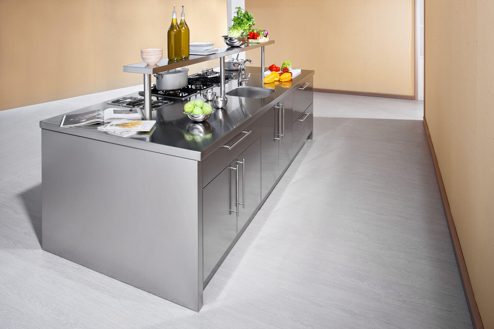 Arca Cucine Italy - Domestic stainless steel kitchens - Workstation - Isola