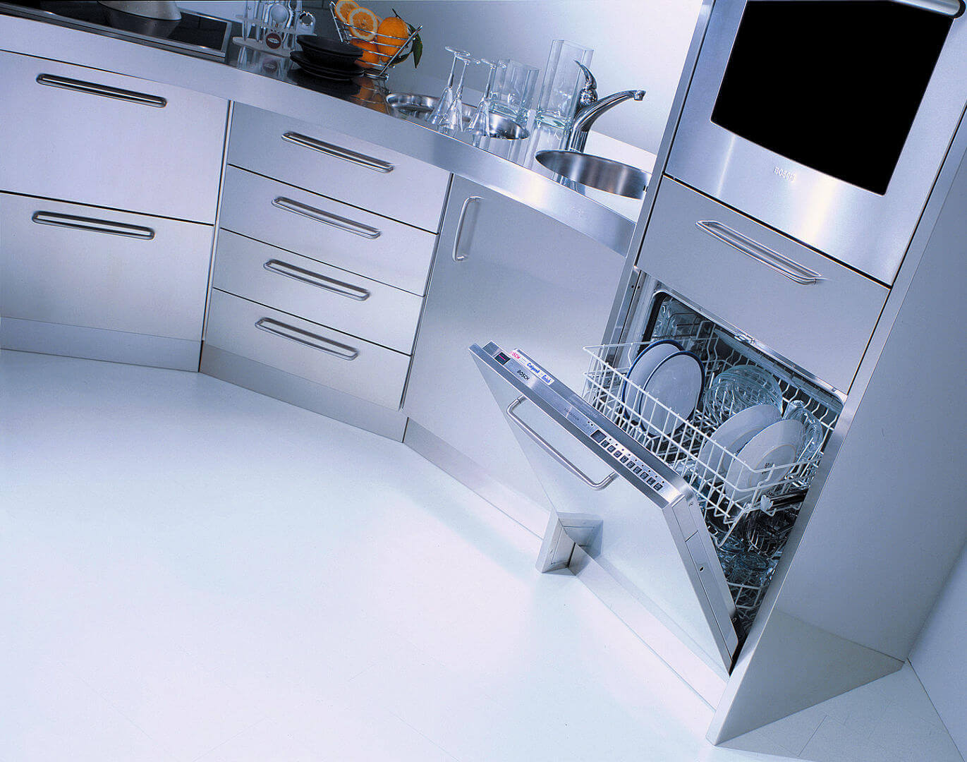 Arca Cucine Italy - Domestic stainless steel kitchens - Venus - Dishwasher and Oven