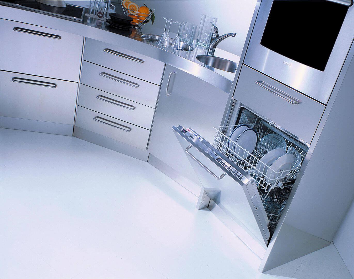 Arca Cucine Italia - Cucine Domestiche in Acciaio Inox - Venere - Lavastoviglie e Forno