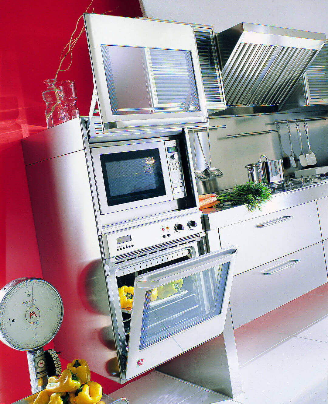 Arca Cucine Italia - Cucina Domestica in Acciaio Inox - Spring - Colonna Forni